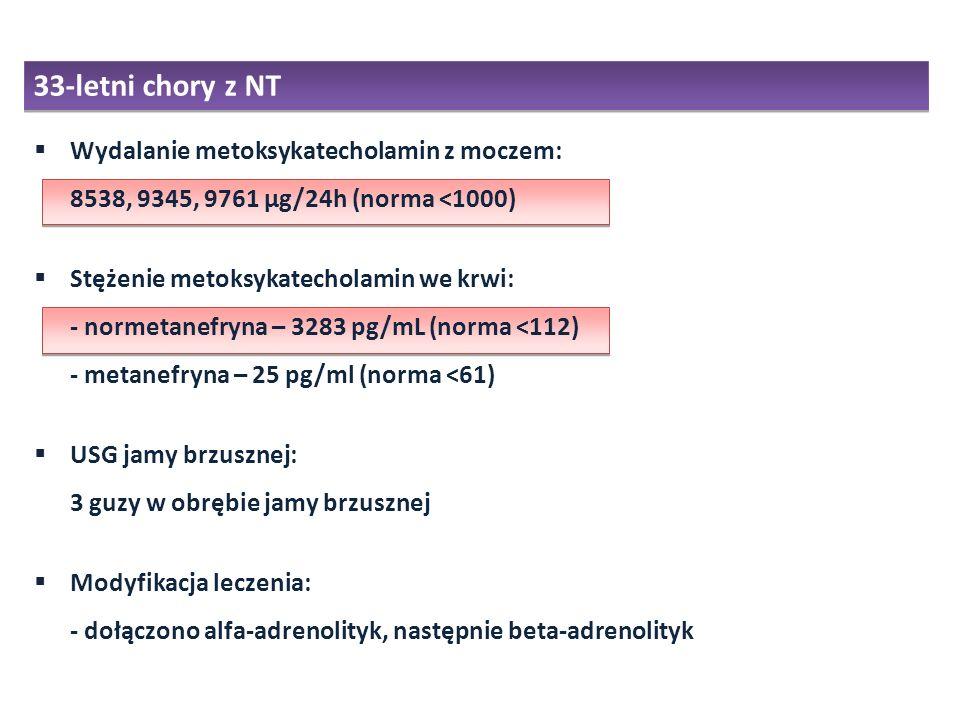 33-letni chory z NT Wydalanie metoksykatecholamin z moczem: 8538, 9345, 9761 µg/24h (norma <1000)