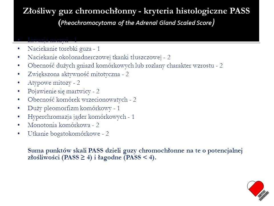 Złośliwy guz chromochłonny - kryteria histologiczne PASS (Pheochromocytoma of the Adrenal Gland Scaled Score)