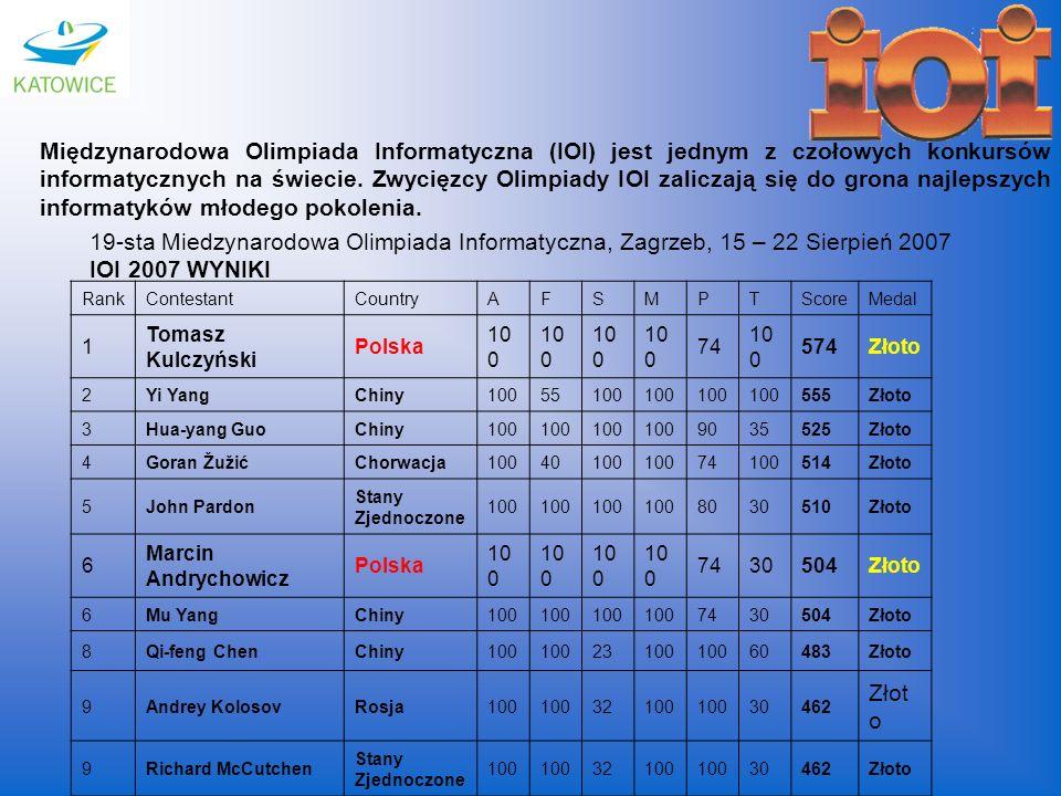Międzynarodowa Olimpiada Informatyczna (IOI) jest jednym z czołowych konkursów informatycznych na świecie. Zwycięzcy Olimpiady IOI zaliczają się do grona najlepszych informatyków młodego pokolenia.