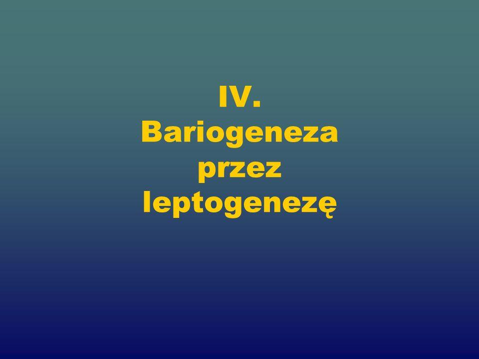 IV. Bariogeneza przez leptogenezę
