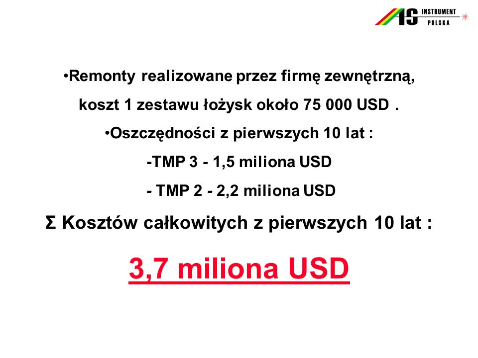 3,7 miliona USD Σ Kosztów całkowitych z pierwszych 10 lat :