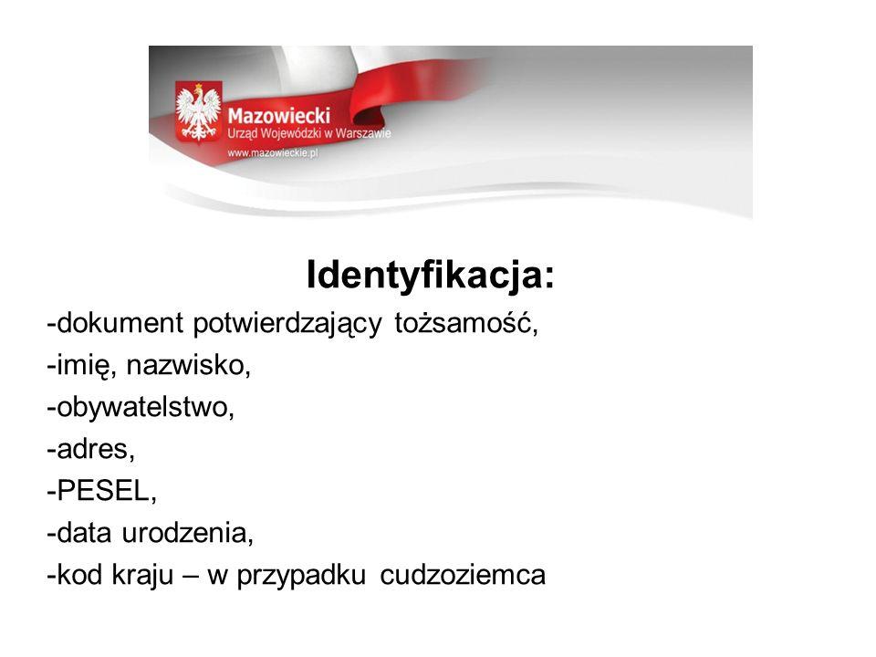 Identyfikacja: -dokument potwierdzający tożsamość, -imię, nazwisko,