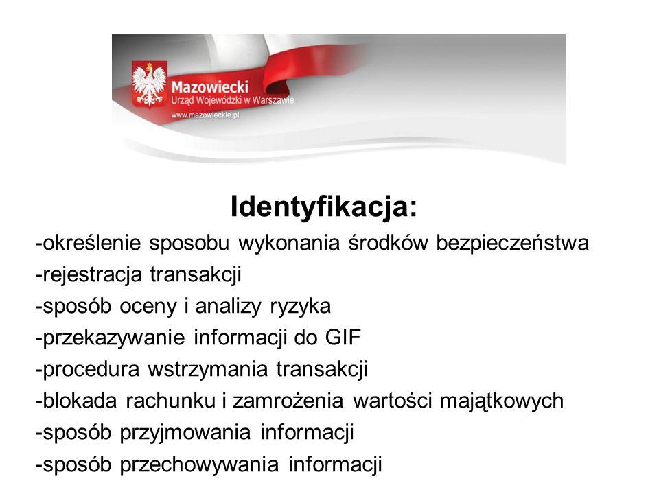 Identyfikacja: -określenie sposobu wykonania środków bezpieczeństwa