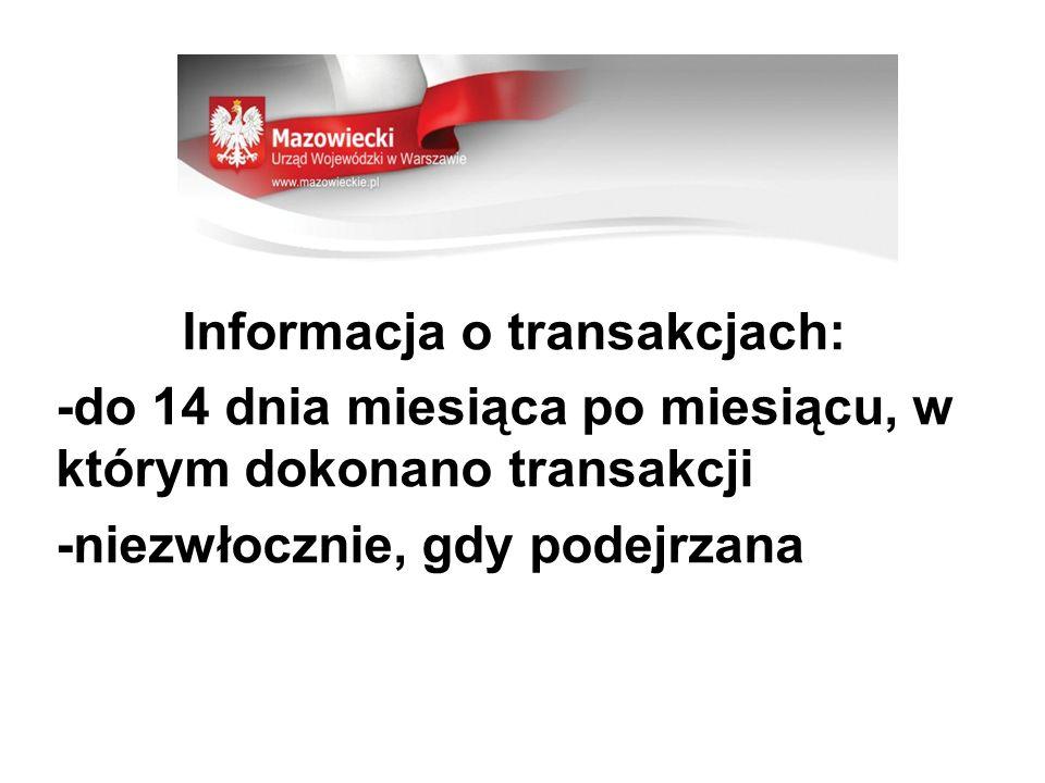 Informacja o transakcjach: