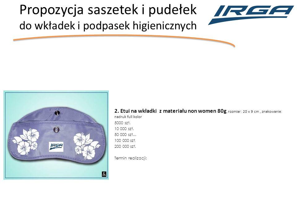 Propozycja saszetek i pudełek do wkładek i podpasek higienicznych