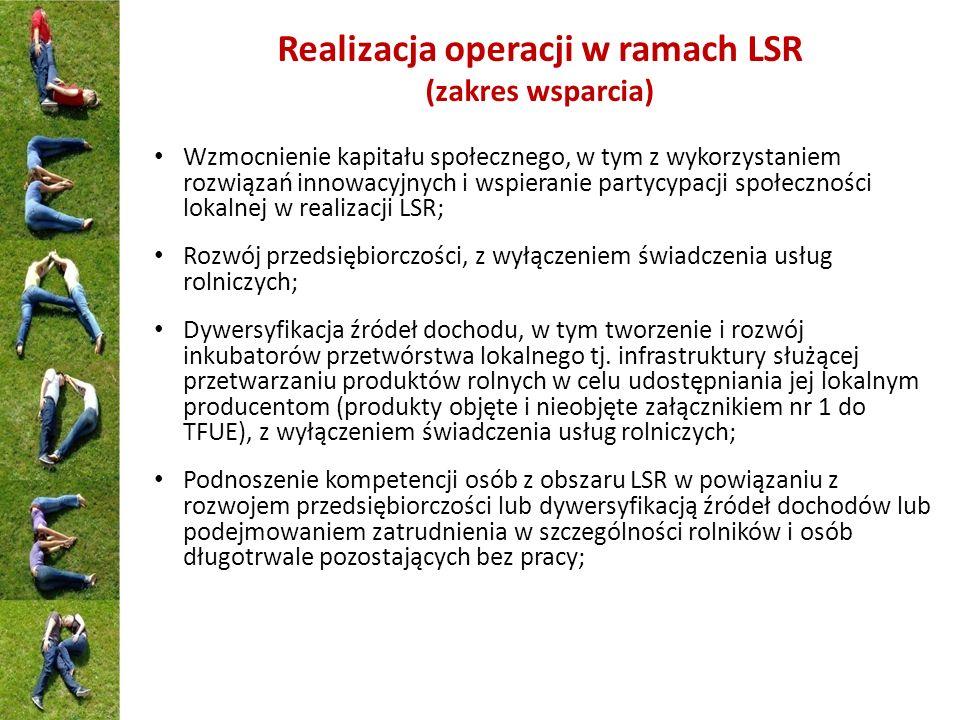 Realizacja operacji w ramach LSR (zakres wsparcia)