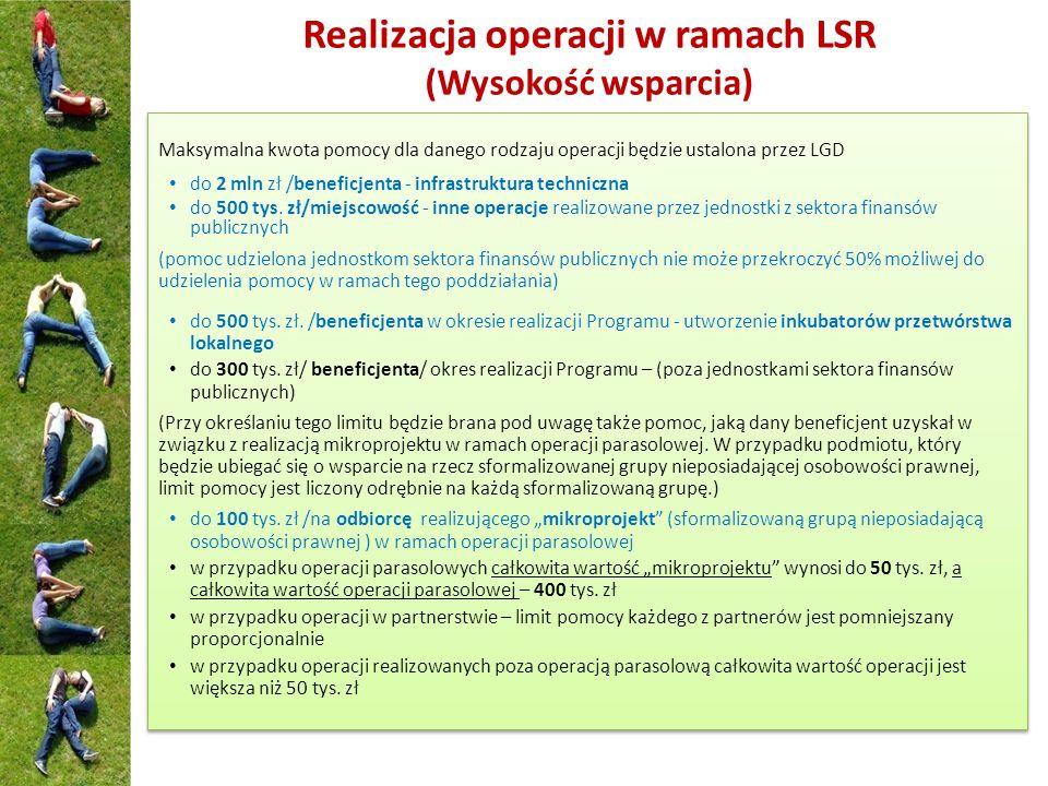 Realizacja operacji w ramach LSR (Wysokość wsparcia)
