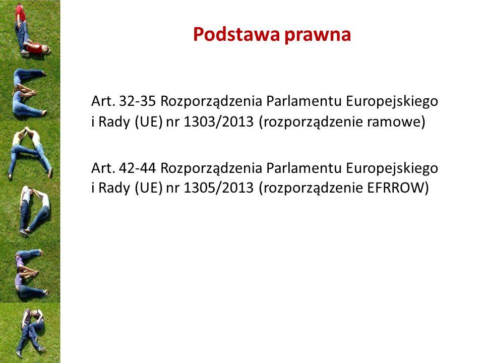 Podstawa prawna Art. 32-35 Rozporządzenia Parlamentu Europejskiego i Rady (UE) nr 1303/2013 (rozporządzenie ramowe)