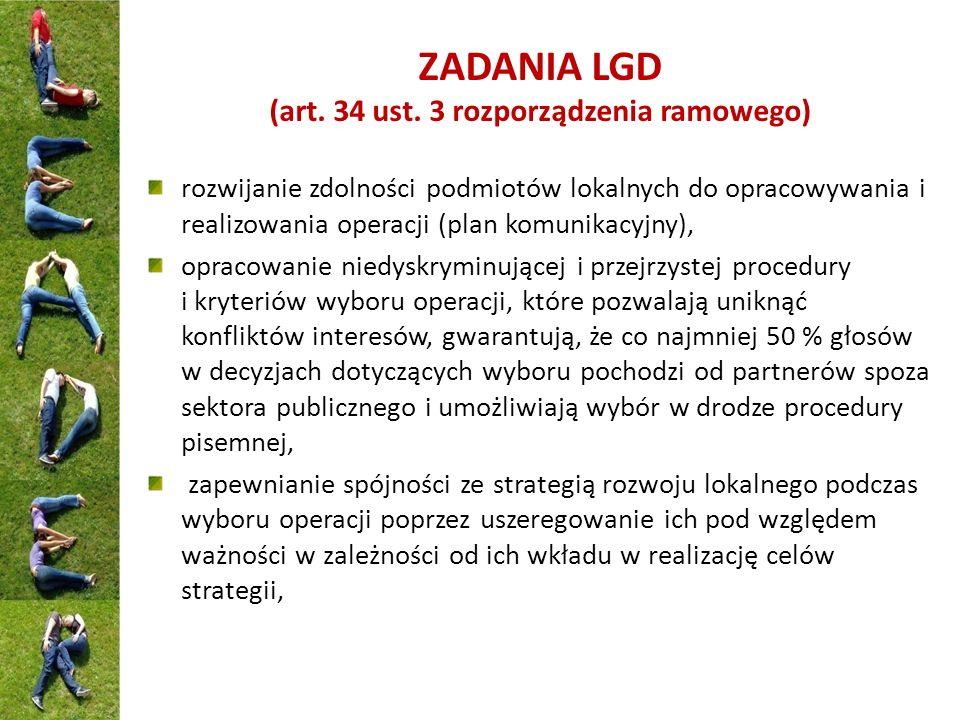 ZADANIA LGD (art. 34 ust. 3 rozporządzenia ramowego)