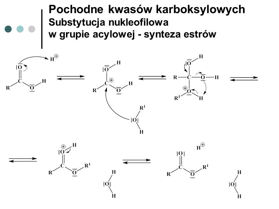 Pochodne kwasów karboksylowych Substytucja nukleofilowa w grupie acylowej - synteza estrów