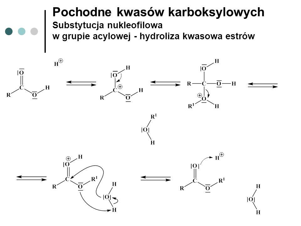 Pochodne kwasów karboksylowych Substytucja nukleofilowa w grupie acylowej - hydroliza kwasowa estrów