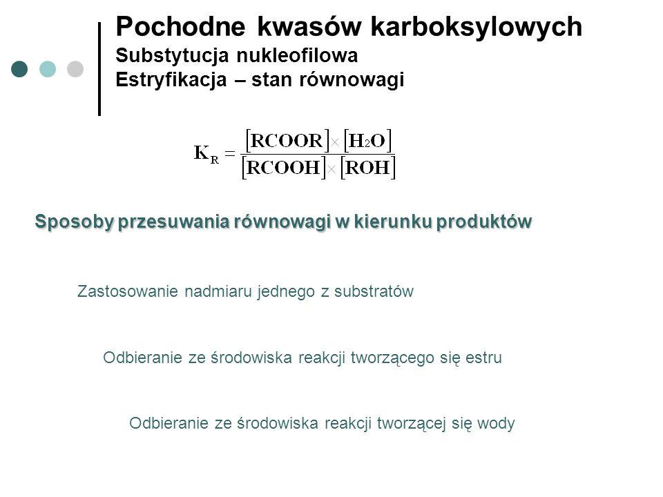Pochodne kwasów karboksylowych Substytucja nukleofilowa Estryfikacja – stan równowagi