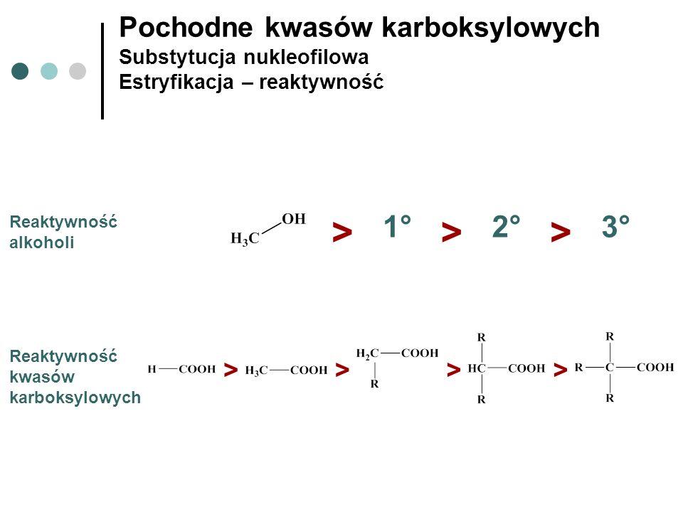 Pochodne kwasów karboksylowych Substytucja nukleofilowa Estryfikacja – reaktywność