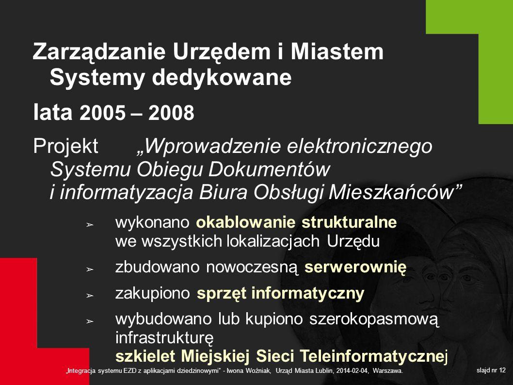 Zarządzanie Urzędem i Miastem Systemy dedykowane lata 2005 – 2008