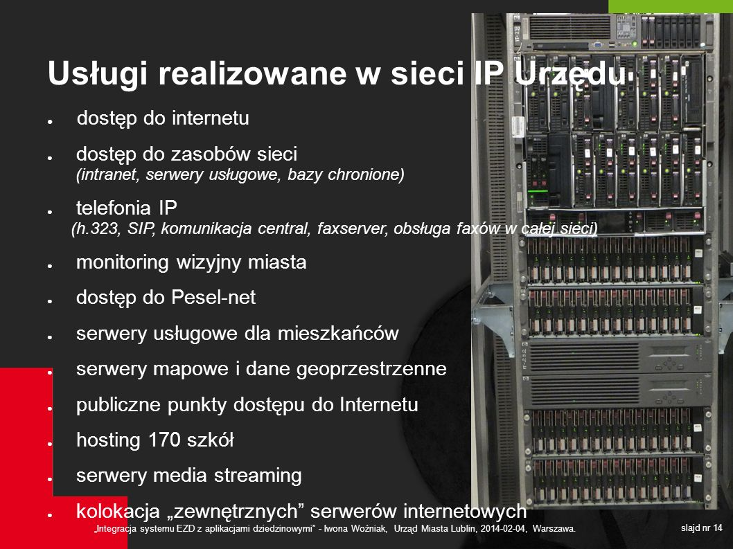 Usługi realizowane w sieci IP Urzędu
