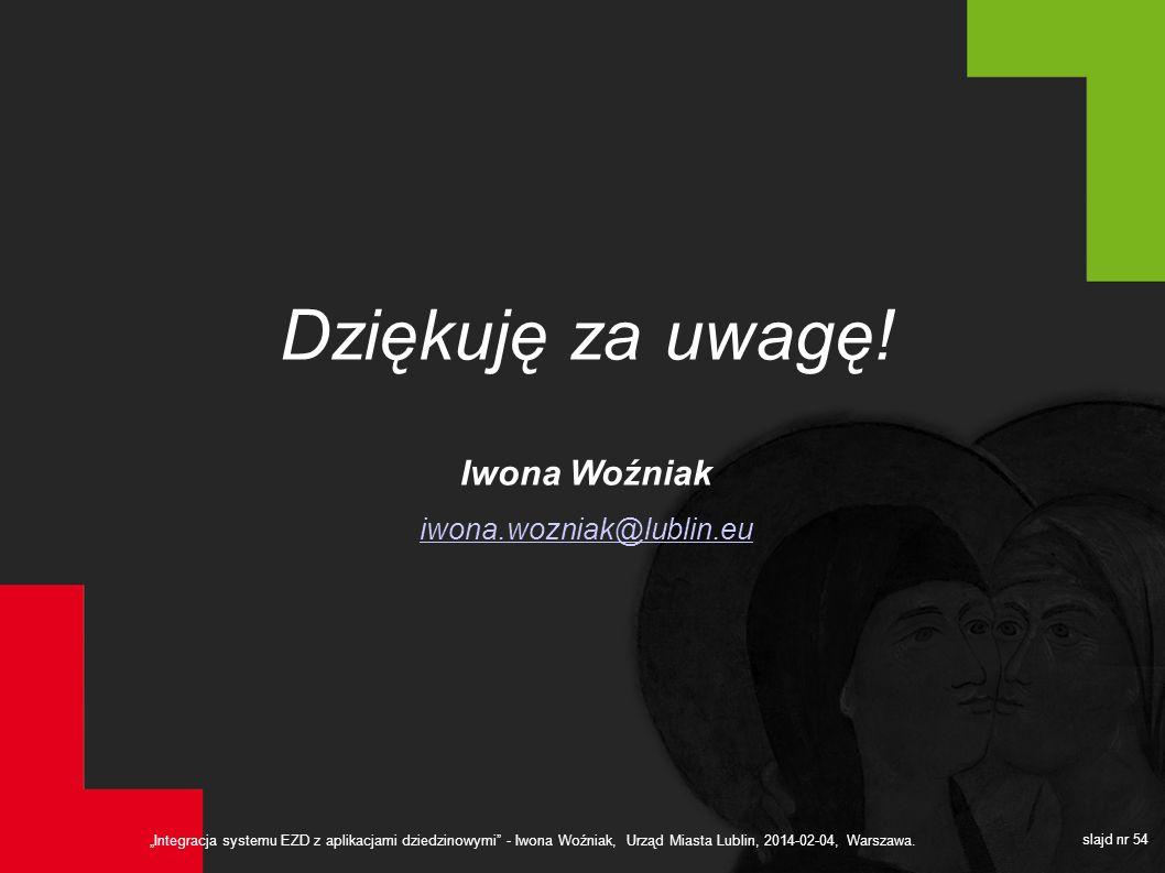 Dziękuję za uwagę! Iwona Woźniak iwona.wozniak@lublin.eu