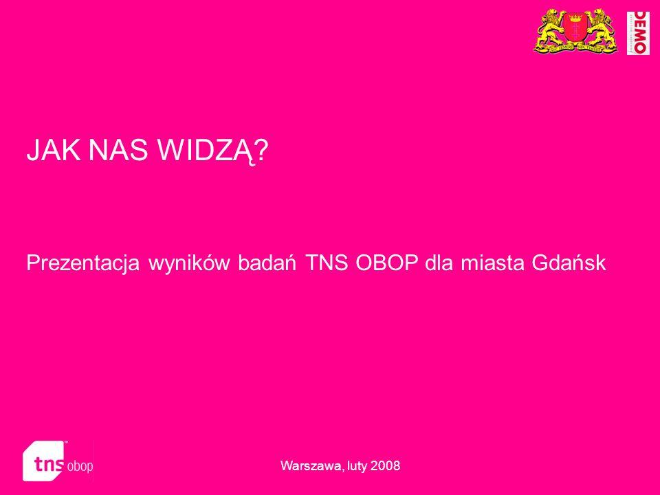 JAK NAS WIDZĄ Prezentacja wyników badań TNS OBOP dla miasta Gdańsk
