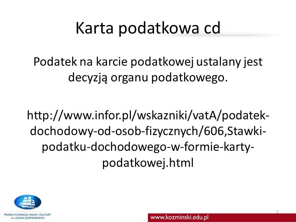 Karta podatkowa cd
