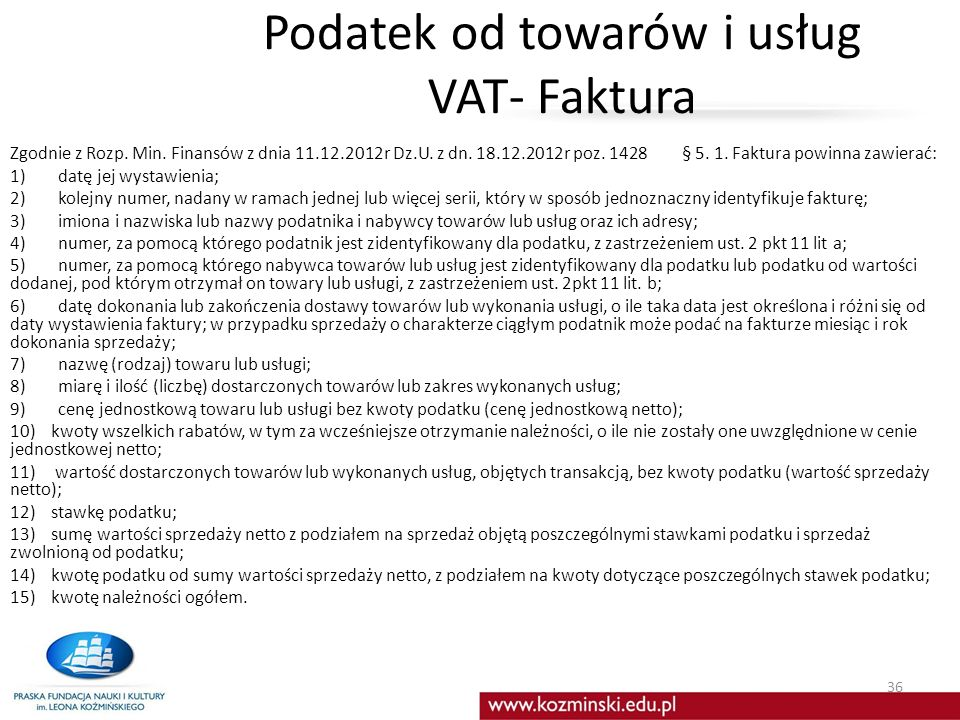 Podatek od towarów i usług VAT- Faktura