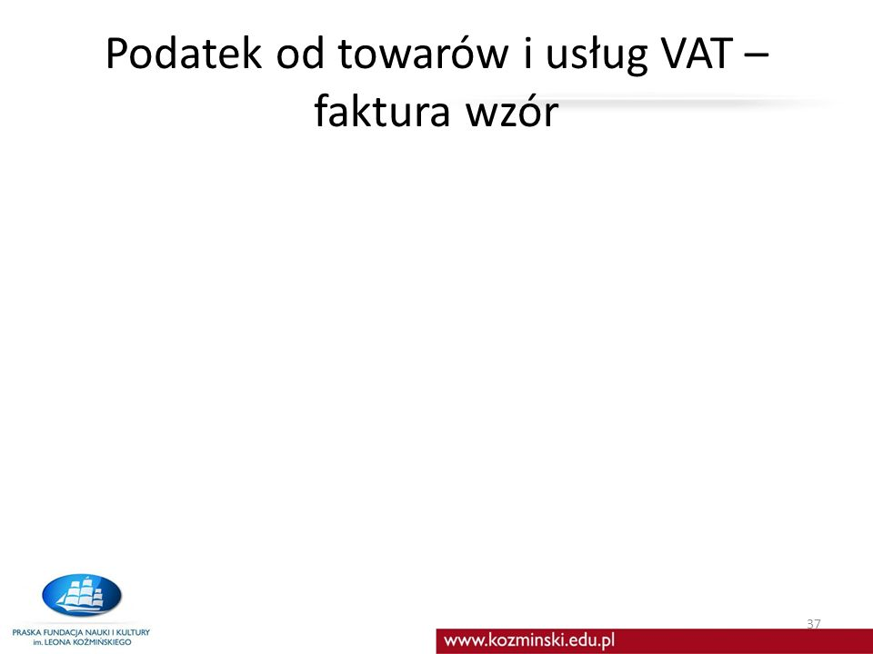 Podatek od towarów i usług VAT – faktura wzór