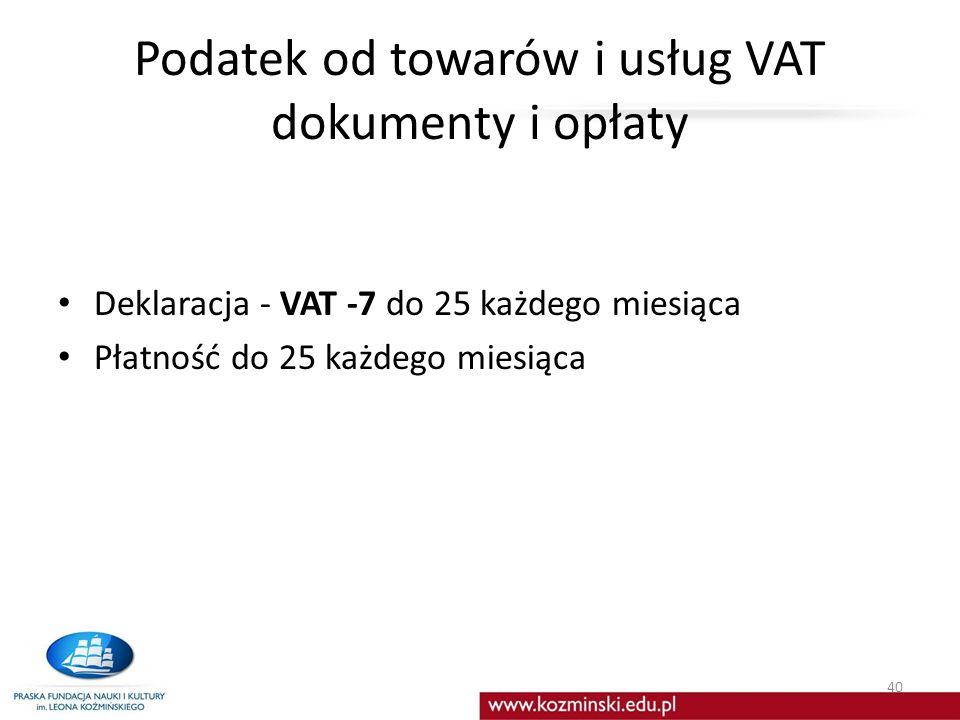 Podatek od towarów i usług VAT dokumenty i opłaty