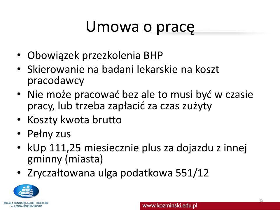Umowa o pracę Obowiązek przezkolenia BHP