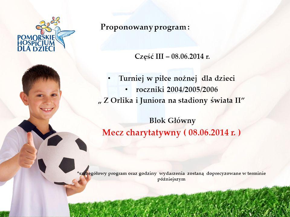 Mecz charytatywny ( 08.06.2014 r. ) Proponowany program :