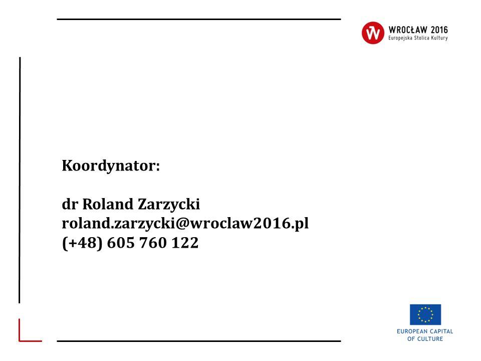 Koordynator: dr Roland Zarzycki roland.zarzycki@wroclaw2016.pl (+48) 605 760 122
