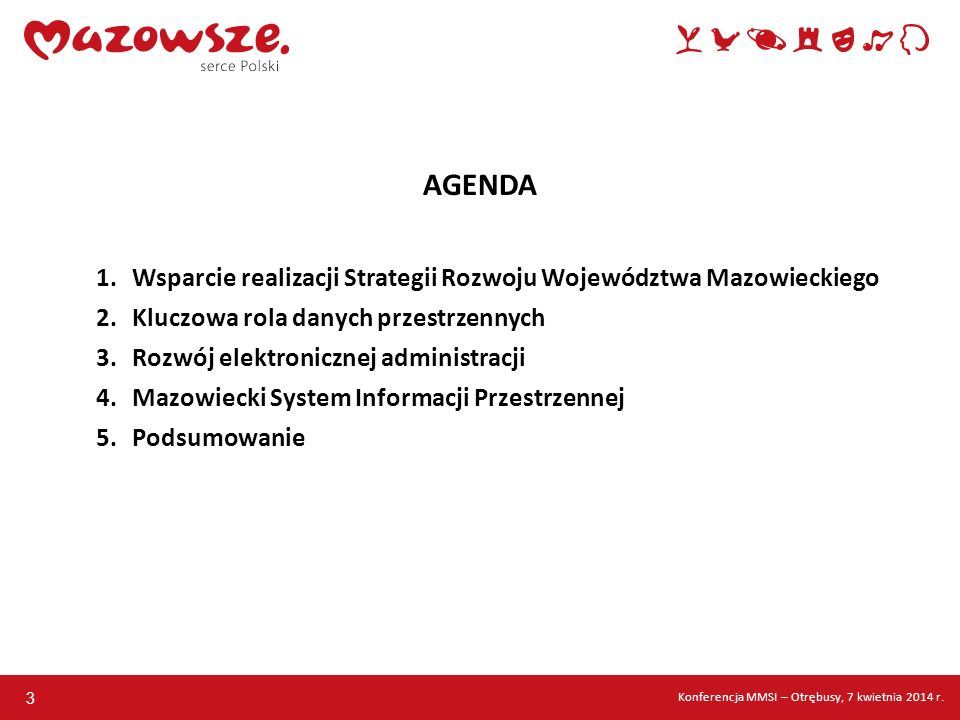 AGENDA Wsparcie realizacji Strategii Rozwoju Województwa Mazowieckiego