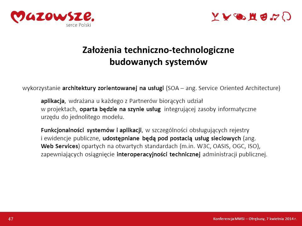 Założenia techniczno-technologiczne budowanych systemów