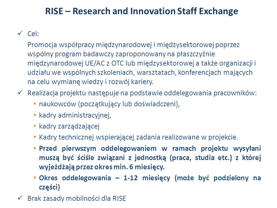RISE – Research and Innovation Staff Exchange