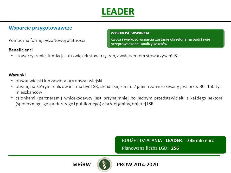 LEADER Wsparcie przygotowawcze PROW 2014-2020 MRiRW