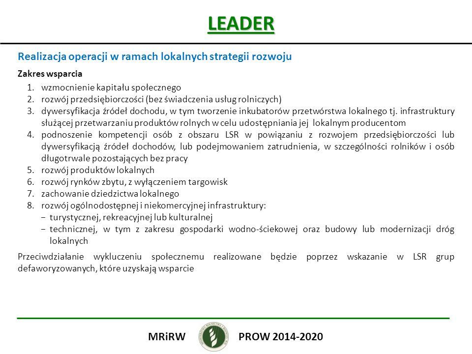 LEADER Realizacja operacji w ramach lokalnych strategii rozwoju
