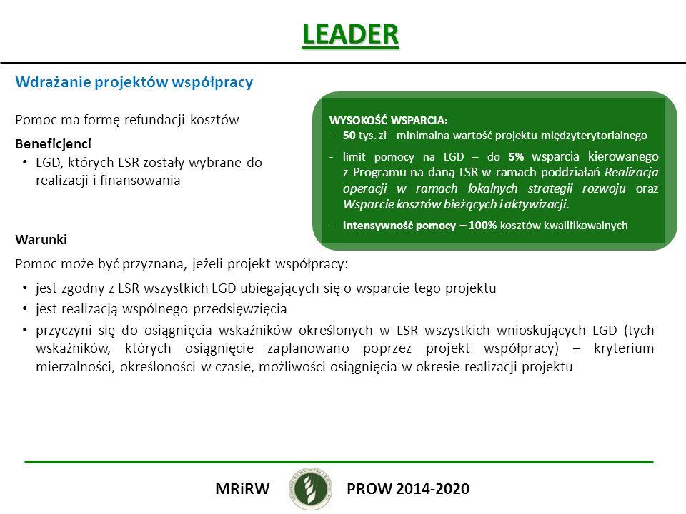 LEADER Wdrażanie projektów współpracy PROW 2014-2020 MRiRW