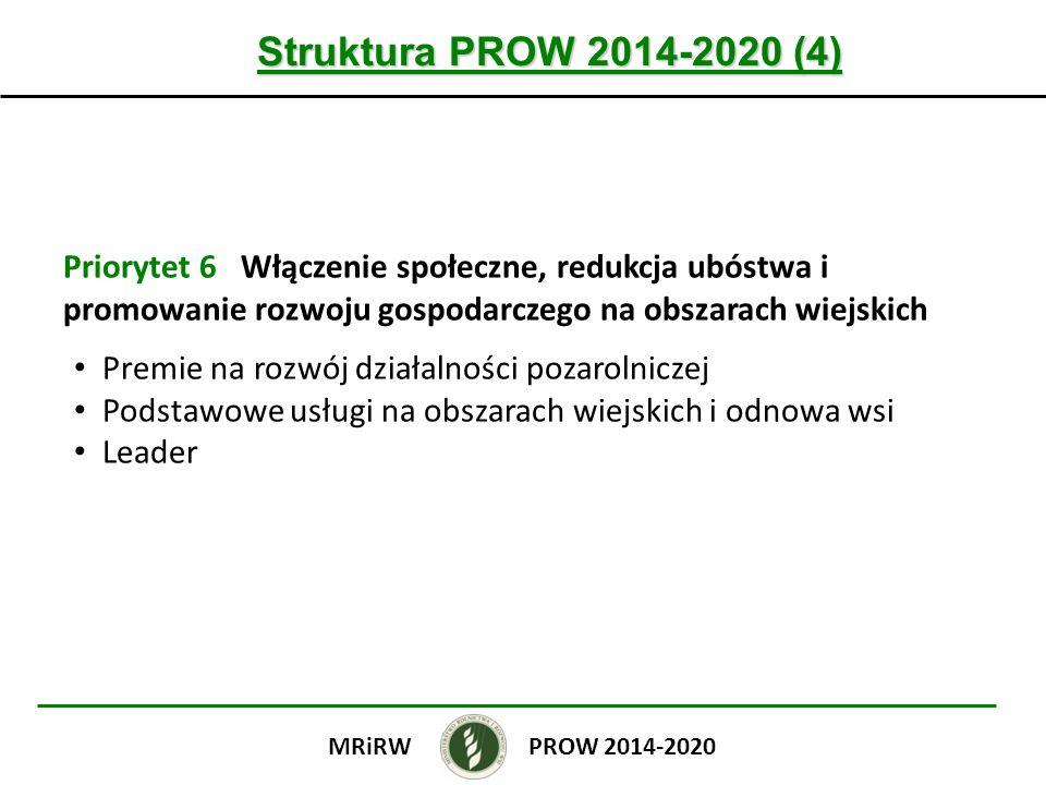 Struktura PROW 2014-2020 (4) Priorytet 6 Włączenie społeczne, redukcja ubóstwa i promowanie rozwoju gospodarczego na obszarach wiejskich.