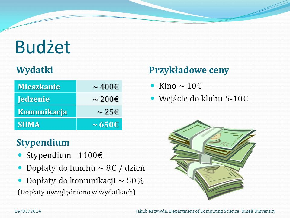 Budżet Wydatki Przykładowe ceny Stypendium Kino ~ 10€