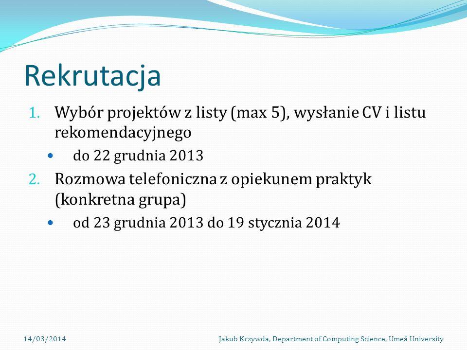 Rekrutacja Wybór projektów z listy (max 5), wysłanie CV i listu rekomendacyjnego. do 22 grudnia 2013.