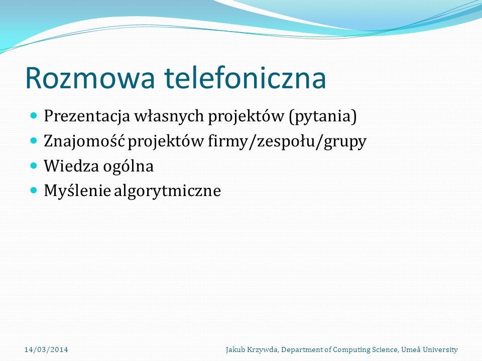 Rozmowa telefoniczna Prezentacja własnych projektów (pytania)