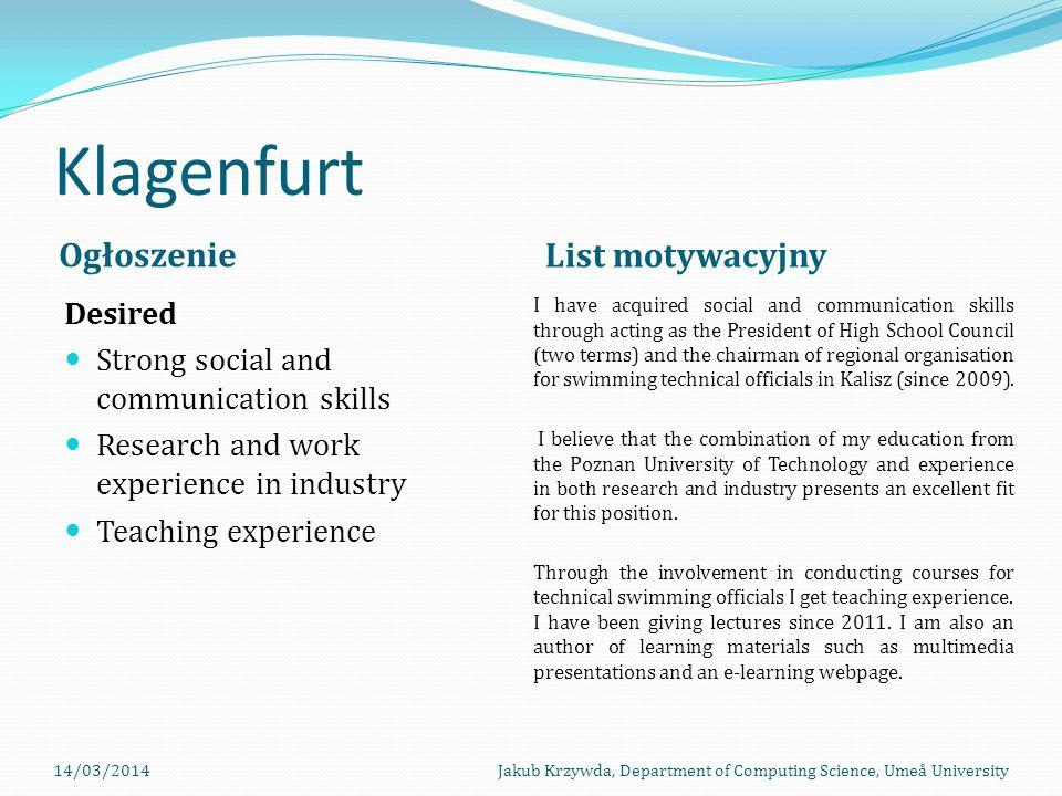 Klagenfurt Ogłoszenie List motywacyjny Desired