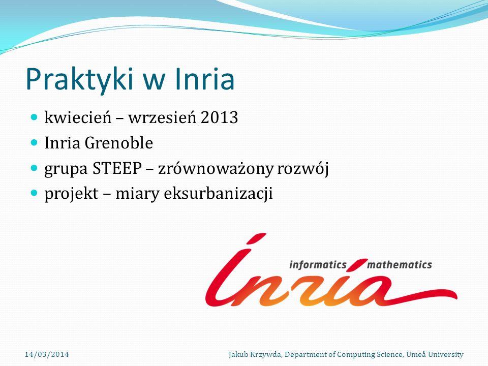 Praktyki w Inria kwiecień – wrzesień 2013 Inria Grenoble