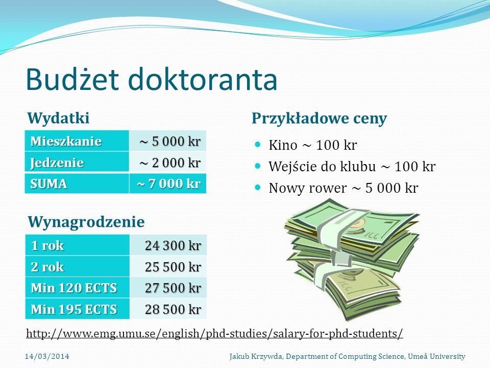 Budżet doktoranta Wydatki Przykładowe ceny Wynagrodzenie Kino ~ 100 kr