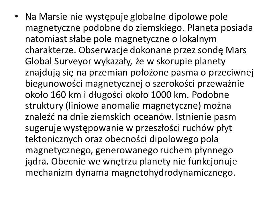 Na Marsie nie występuje globalne dipolowe pole magnetyczne podobne do ziemskiego.