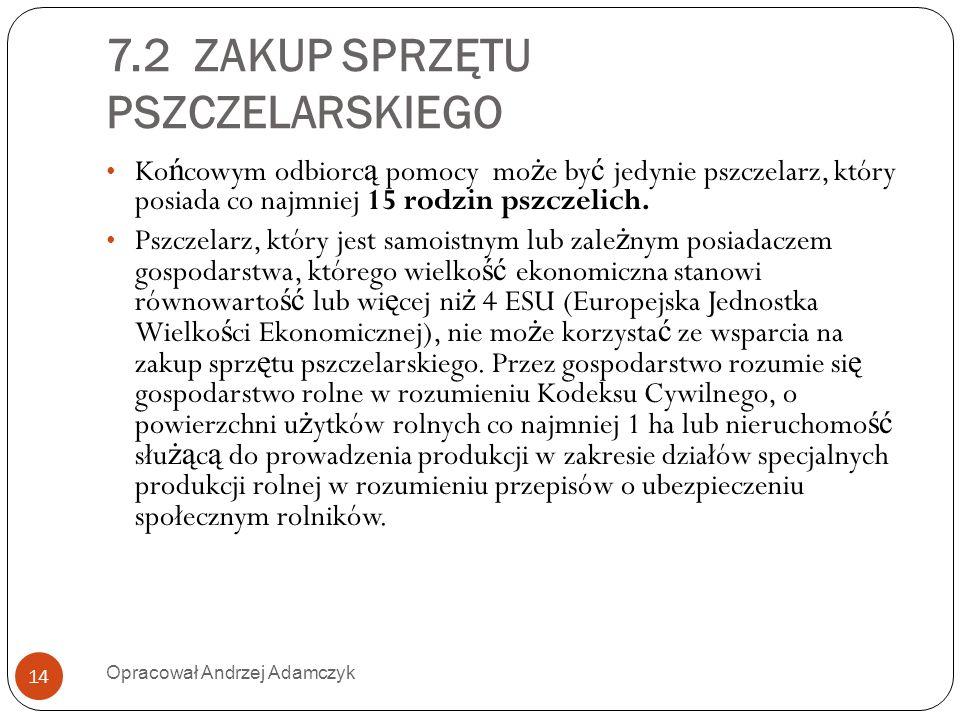 7.2 ZAKUP SPRZĘTU PSZCZELARSKIEGO