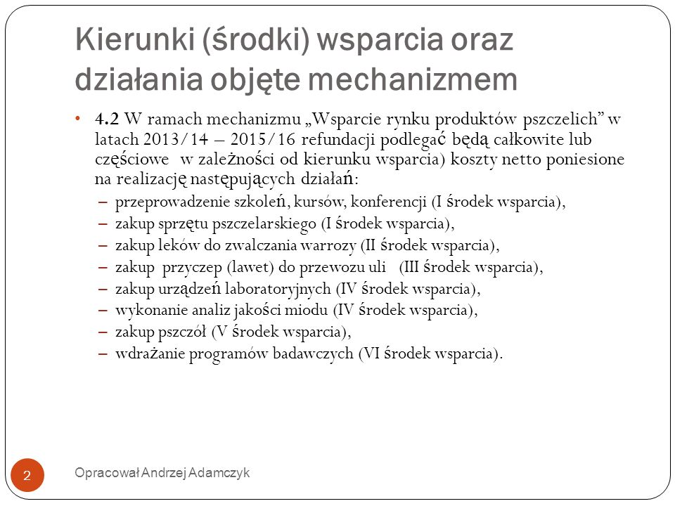 Kierunki (środki) wsparcia oraz działania objęte mechanizmem