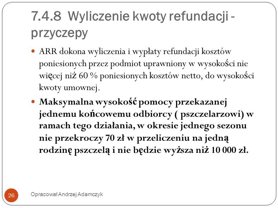 7.4.8 Wyliczenie kwoty refundacji - przyczepy