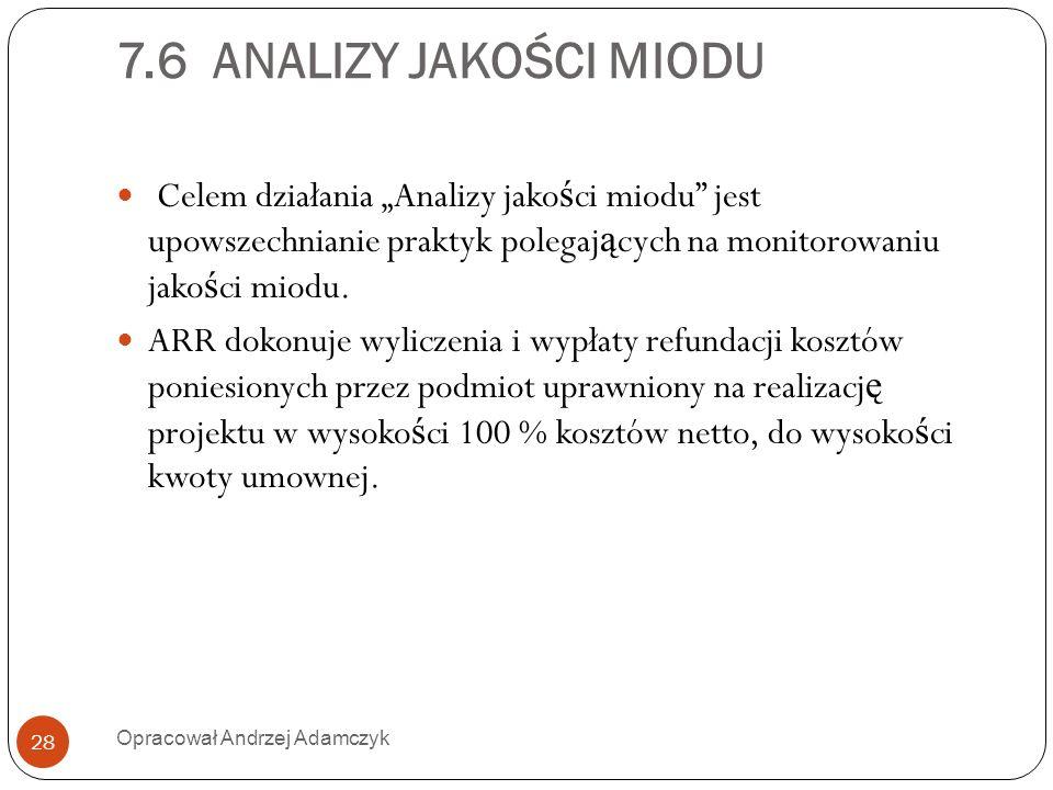 """7.6 ANALIZY JAKOŚCI MIODU Celem działania """"Analizy jakości miodu jest upowszechnianie praktyk polegających na monitorowaniu jakości miodu."""
