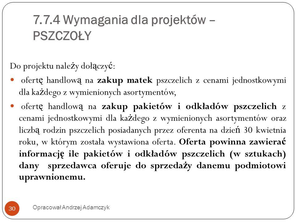 7.7.4 Wymagania dla projektów – PSZCZOŁY