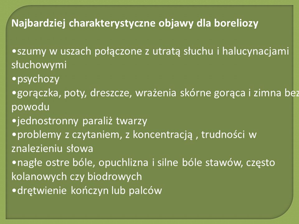 Najbardziej charakterystyczne objawy dla boreliozy
