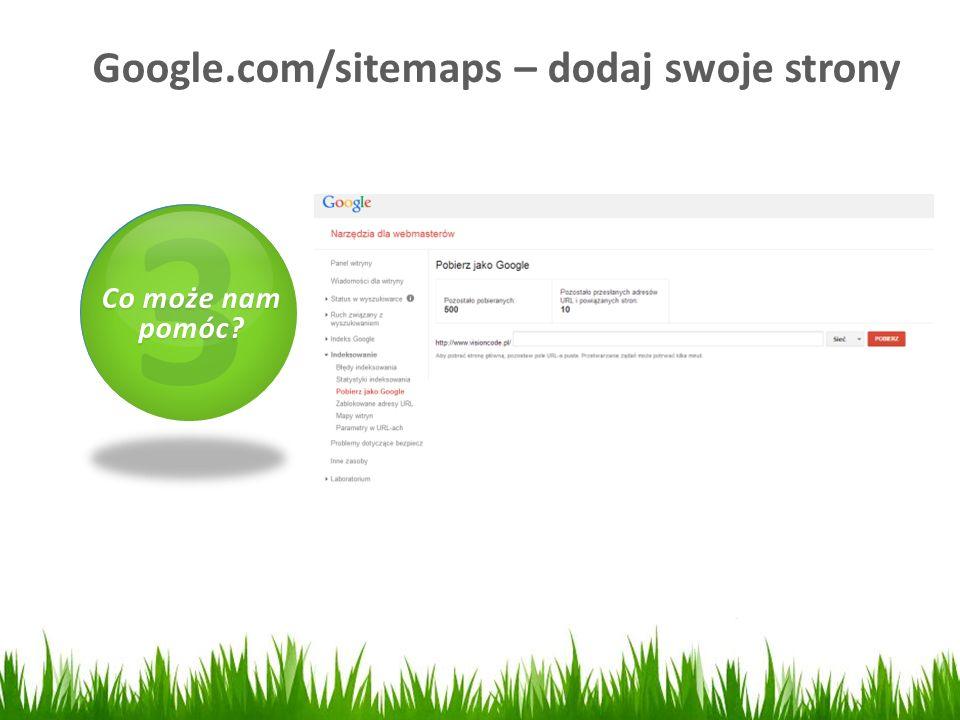 Google.com/sitemaps – dodaj swoje strony