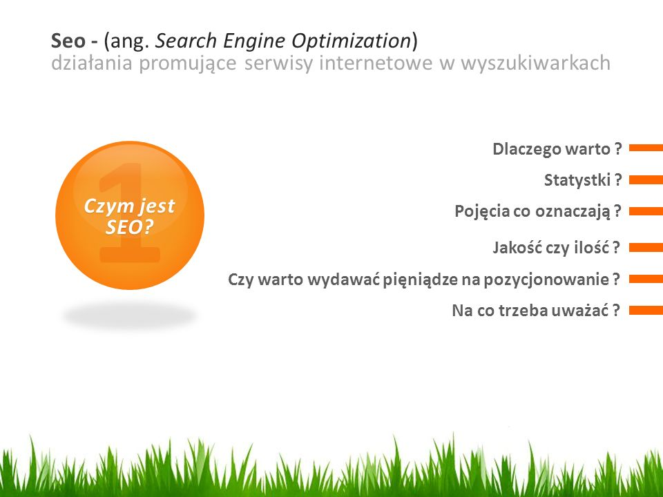 1 Seo - (ang. Search Engine Optimization)